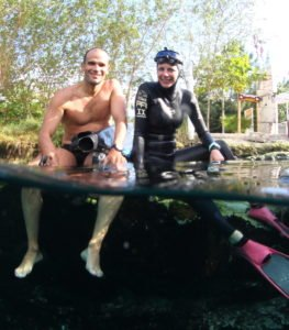 Freediving Champions Carlos Coste and Ashley Chapman prepare to freediving adventure in cenotes